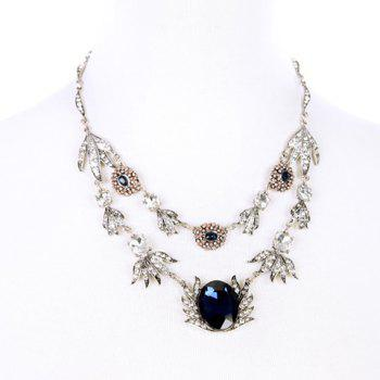 Faux Crystal Rhinestone Flower Shape Pendant Necklace