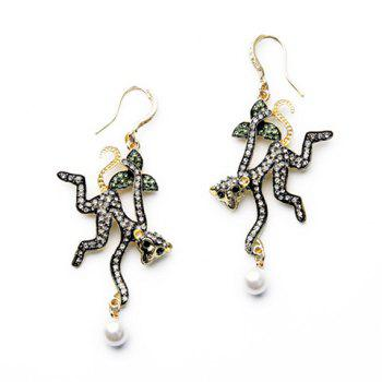 Pair of Faux Pearls Rhinestone Monkey Earrings - COLORMIX