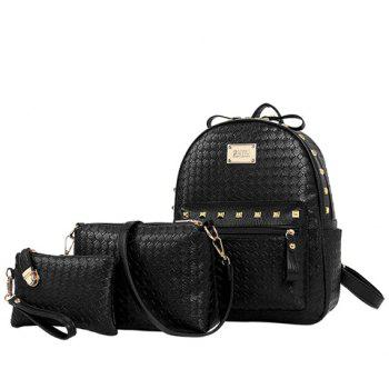 Fashion Weaving and Rivets Design Women's Satchel