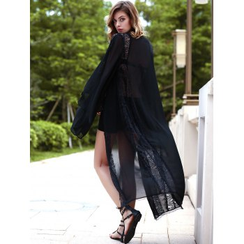 Stylish Women's Flare Sleeve Collarless Long Chiffon Blouse - BLACK S