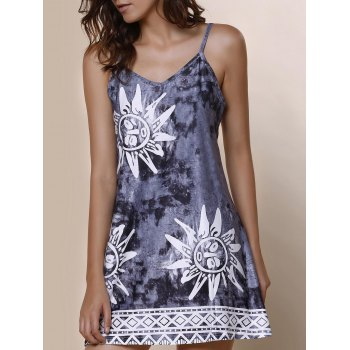 Spaghetti Strap Argyle Elephant Print Sleeveless Dress