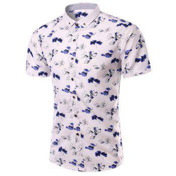 Turn-Down Collar Plus Size Floral Print Short Sleeve Men's Shirt