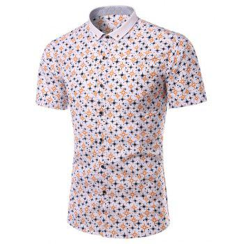Turn-Down Collar Plus Size Stars Print Short Sleeve Men's Shirt
