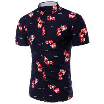 Turn-Down Collar Plus Size Flower Print Short Sleeve Men's Shirt