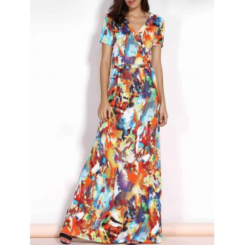 Multicolored Print V-Neck Short Sleeve Plus Size Maxi Dress