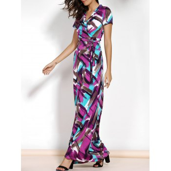 Short Sleeve Argyle Print Belted Maxi Dress