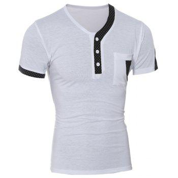 Color Block Dot Splicing Special V-Neck Short Sleeve Men's T-Shirt - WHITE M