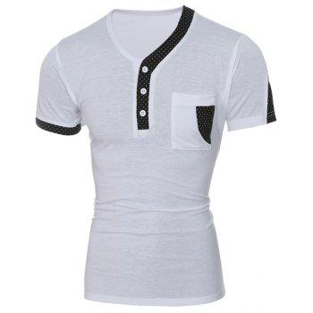 Buy Color Block Dot Splicing Special V-Neck Short Sleeve Men's T-Shirt WHITE