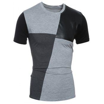 Round Neck Color Block PU-Leather Spliced Short Sleeve Men's T-Shirt