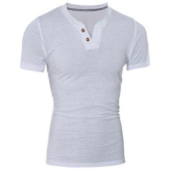 Laconic V-Neck Button Design Short Sleeve Men's T-Shirt