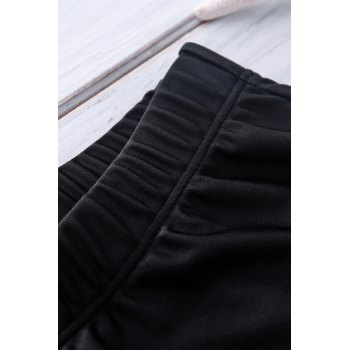 Letter Printed Solid Color Sexy Men's Swimming Trunks - BLACK BLACK
