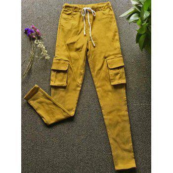 Casual Style Mid Waist Solid Color Slimming Pocket Decorated Women's Pants