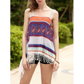 Ethnic Women's Strappy Fringed Print Chiffon Top