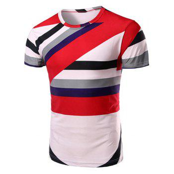 Vogue Round Neck Color Block Stripe Short Sleeves Men's T-Shirt