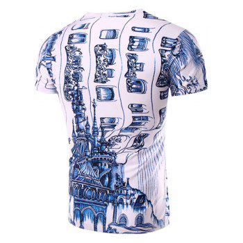 Casual Round Neck 3D Abstrat Print Short Sleeve Men's T-Shirt - WHITE M