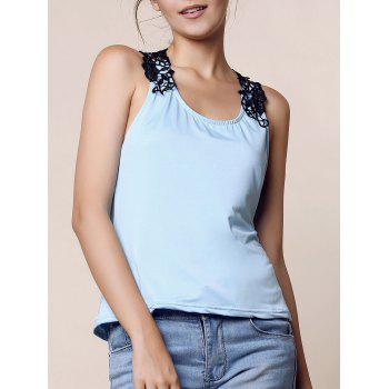 Trendy Style Scoop Neck Lace Splicing Backless Women's Tank Top