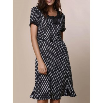 Vintage Short Sleeve Scoop Neck Polka Dot Women's Fishtail Mermaid Dress - BLACK XL