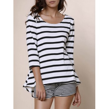 Simple Style Scoop Neck Stripe Print 3/4 Sleeve Blouse For Women - WHITE AND BLACK WHITE/BLACK