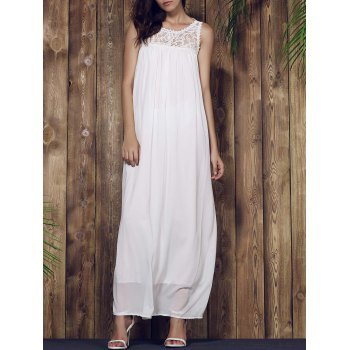 Breezy Lace Yoke Maxi Chiffon Beach Dress