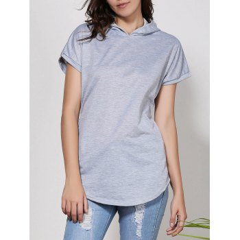 Stylish Hooded Short Sleeve Solid Color Asymmetrical Women's T-Shirt - GRAY GRAY