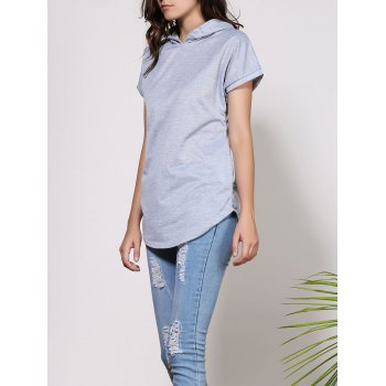 Stylish Hooded Short Sleeve Solid Color Asymmetrical Women's T-Shirt - L L