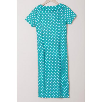 Polka Dot Print Bow Collar Short Sleeve Pencil Dress - M M
