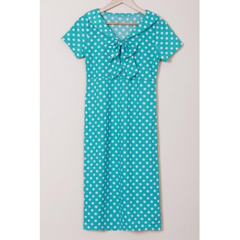 Polka Dot Print Bow Collar Short Sleeve Pencil Dress - GREEN M