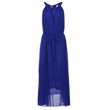 Bohemian Purplish Blue Round Collar Sleeveless Dress For Women