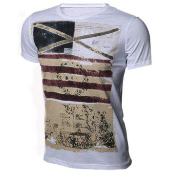 Slimming Round Neck Stripes Ombre Print Men's Short Sleeves T-Shirt