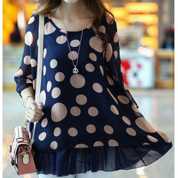 Cute Women's Scoop Neck 3/4 Sleeve Polka Dot Blouse