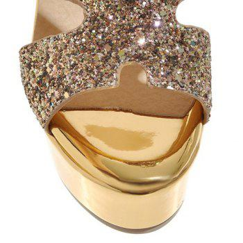 Stylish Sequined Cloth and Chunky Heel Design Women's Slippers - GOLDEN GOLDEN