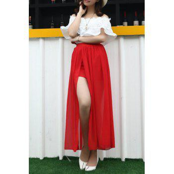 Stylish Off-The-Shoulder Lace Trim Top and Two Layers Red Skirt Two Piece Dress For Women - RED ONE SIZE(FIT SIZE XS TO M)