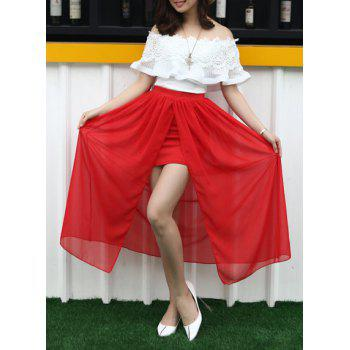 Stylish Off-The-Shoulder Lace Trim Top and Two Layers Red Skirt Two Piece Dress For Women - RED RED