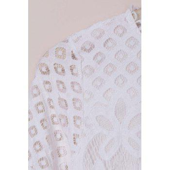 Long Sleeve Lace Hollow Out Dress - WHITE M