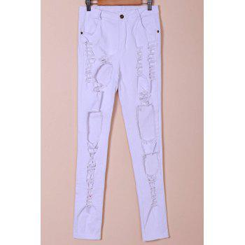 Chic Mid-Waisted Hole Design Pure Color Women's Jeans - WHITE S