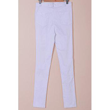Chic Mid-Waisted Hole Design Pure Color Women's Jeans - M M
