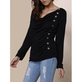 Vogue Cowl Neck Long Sleeve With Button Blouse For Women