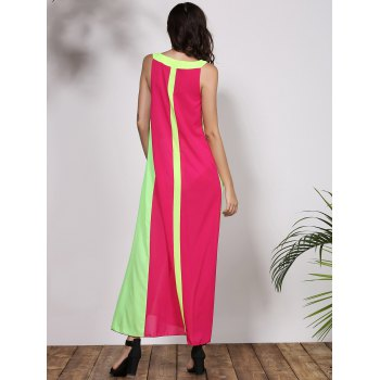 Stylish Round Collar Sleeveless Cut Out Color Block Women's Dress - ROSE S