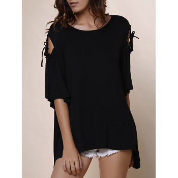Fashionable Women's Scoop Neck Solid Color Cut Out Short Sleeve T-Shirt