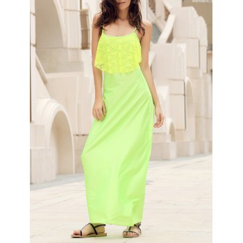 Summer Alluring Spaghetti Strap Sleeveless Solid Color Spliced Women's Dress