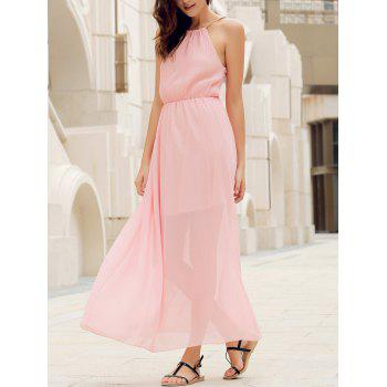 Elegant Round Collar Solid Color Sleeveless Women's Sage Maxi Dress
