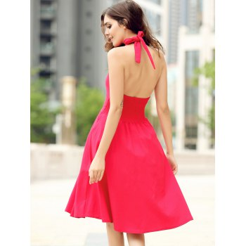 Vintage Halter Pure Color Backless Flare Dress For Women - S S