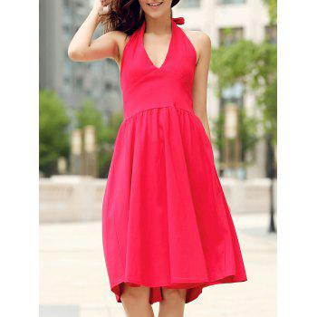 Vintage Halter Pure Color Backless Flare Dress For Women - RED L