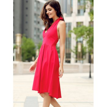 Vintage Halter Pure Color Backless Flare Dress For Women - L L