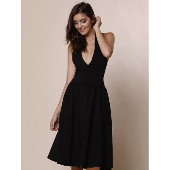 Halter Vintage Pure Color Dress Backless Flare pour les femmes - Noir S