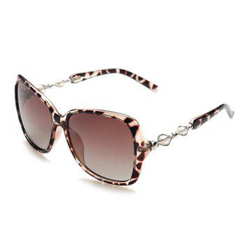 Chic Faux Pearl and Hollow Metal Embellished Women's Leopard Sunglasses - DEEP BROWN DEEP BROWN