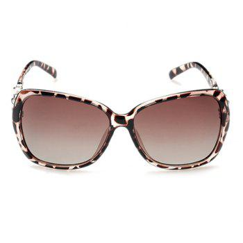 Chic Faux Pearl and Hollow Metal Embellished Women's Leopard Sunglasses -  DEEP BROWN