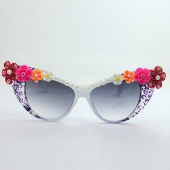 Buy Chic Flower Shape Embellished Hot Summer Women's Cat Eye Sunglasses WHITE