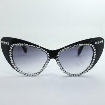 Buy Chic Rhinestone Embellished Hot Summer Women's Black Cat Eye Sunglasses BLACK