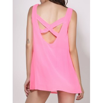 Sexy V-Neck Sleeveless Solid Color Cut Out Women's Dress - PINK M